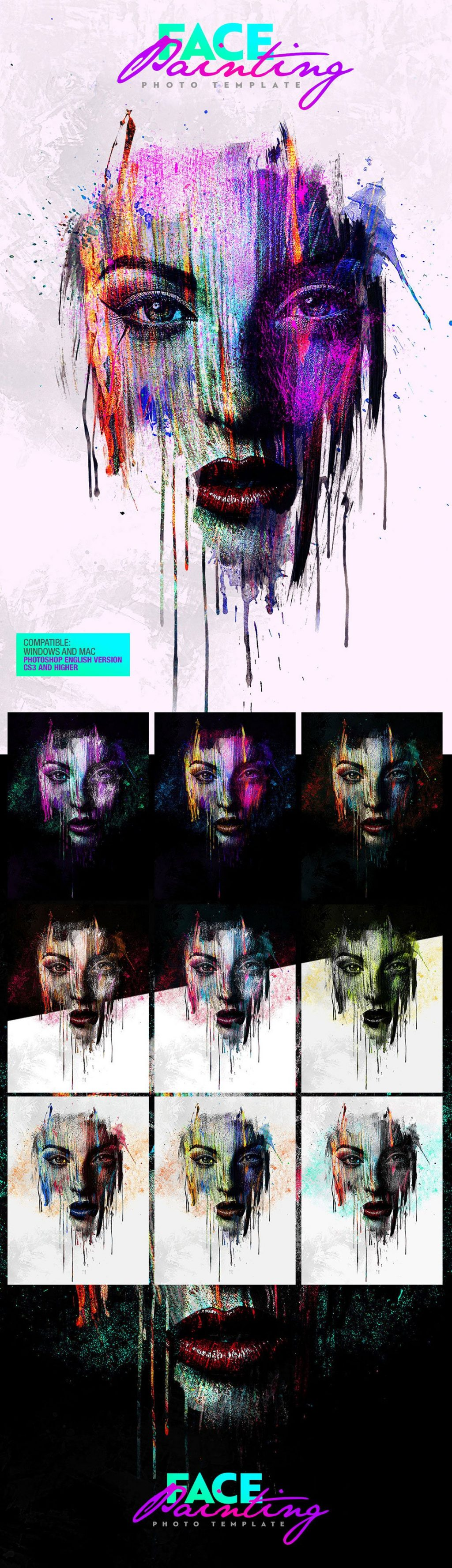 Photoshop Actions & Templates: Artistic Photo FX Bundle - face painting photo template design by amorjesu