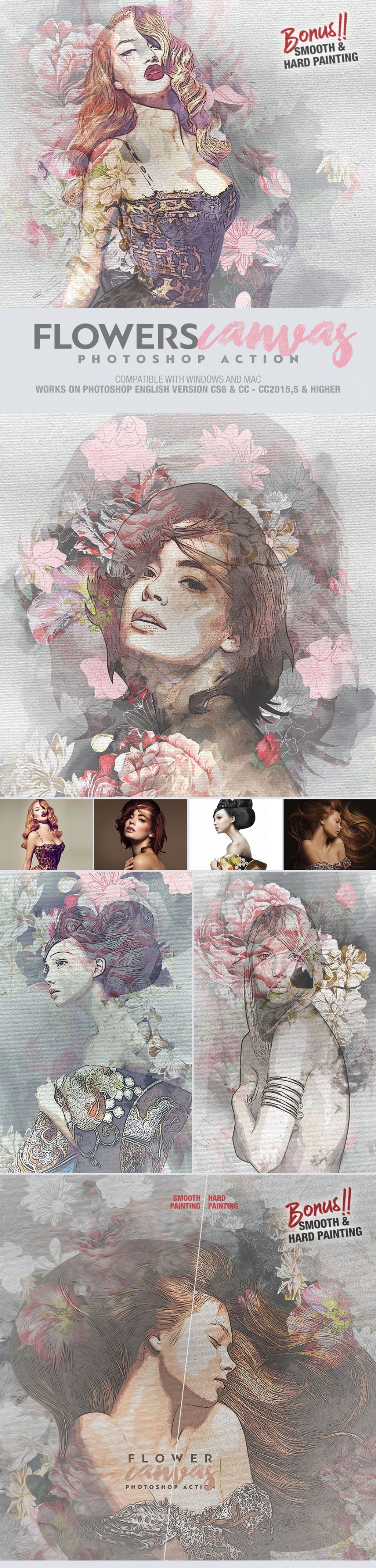 Photoshop Actions & Templates: Artistic Photo FX Bundle - flower canvas photoshop action design by amorjesu 2
