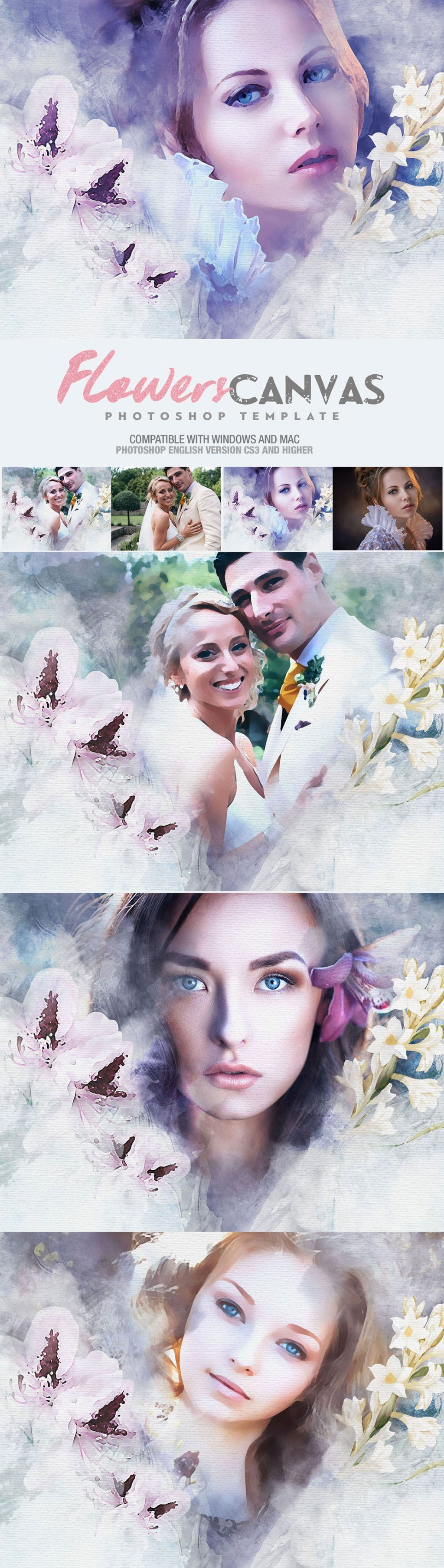 Photoshop Actions & Templates: Artistic Photo FX Bundle - flowers canvas photo template design by amorjesu