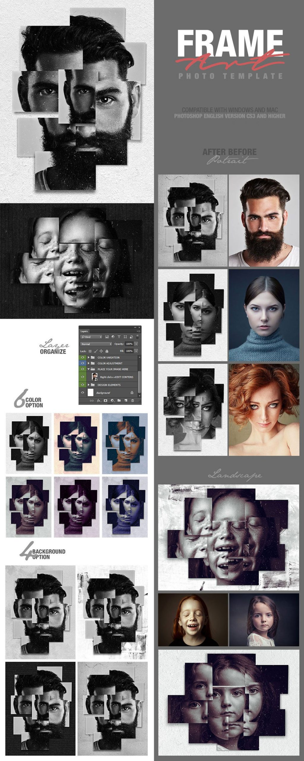 Photoshop Actions & Templates: Artistic Photo FX Bundle - frame art photo template design by amorjesu