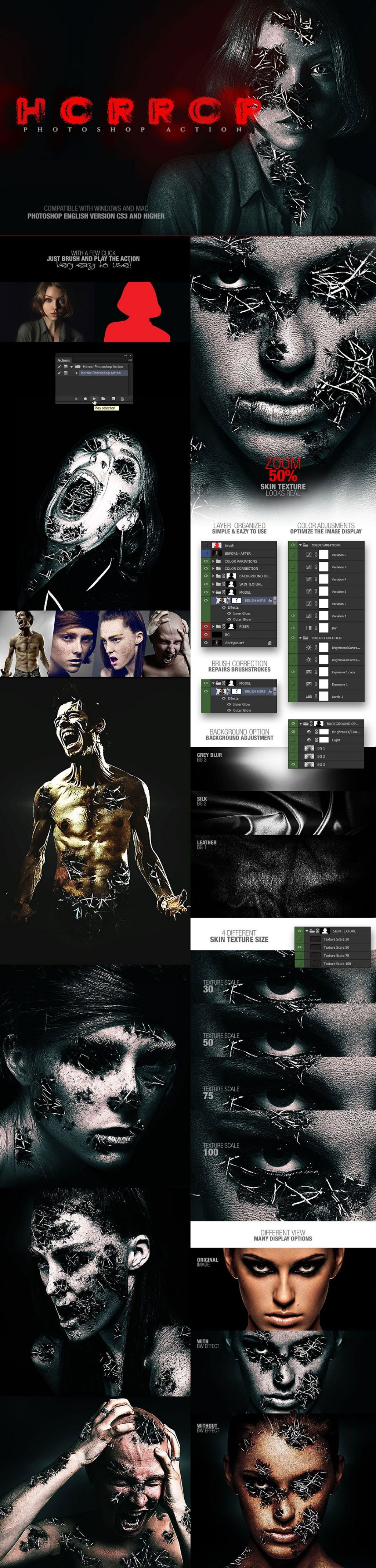 Photoshop Actions & Templates: Artistic Photo FX Bundle - horror photoshop action design by amorjesu
