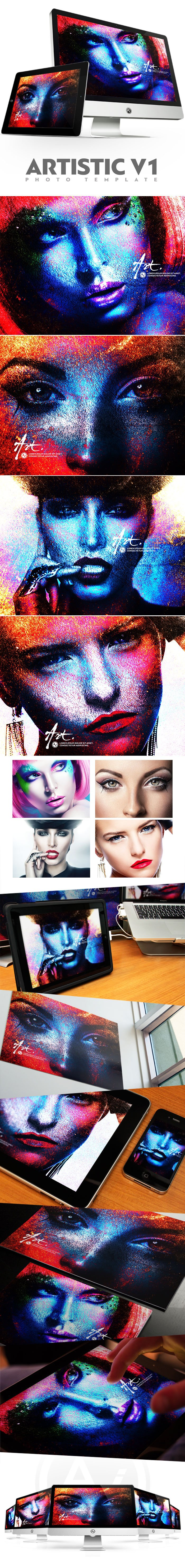 Photoshop Actions & Templates: Artistic Photo FX Bundle - preview artistic photo template v1 design by amorjesu
