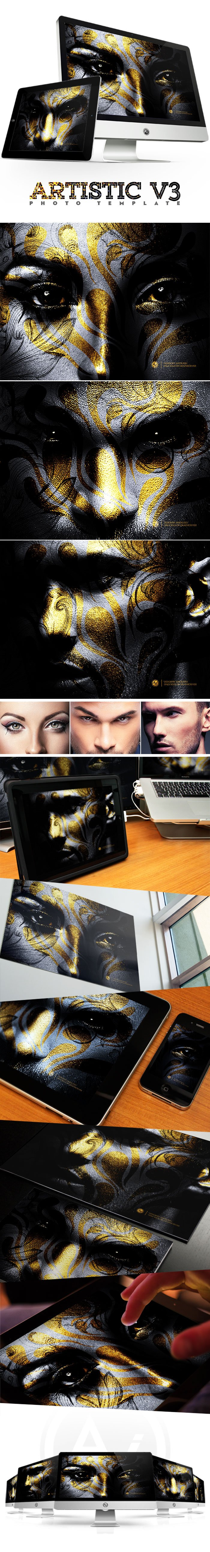 Photoshop Actions & Templates: Artistic Photo FX Bundle - preview artistic photo template v3 design by amorjesu