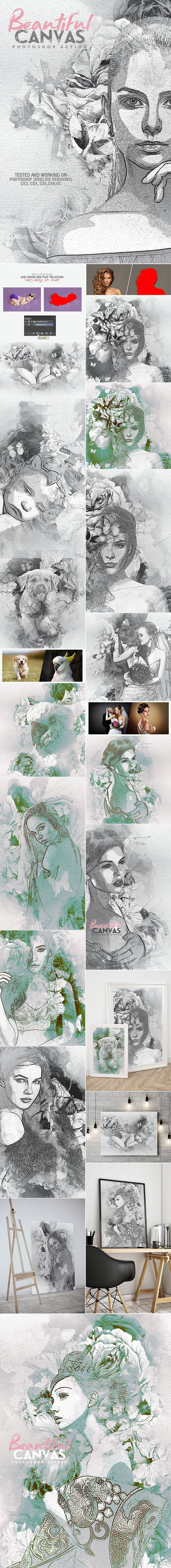 Photoshop Actions & Templates: Artistic Photo FX Bundle - preview beautiful canvas photoshop action design by amorjesu