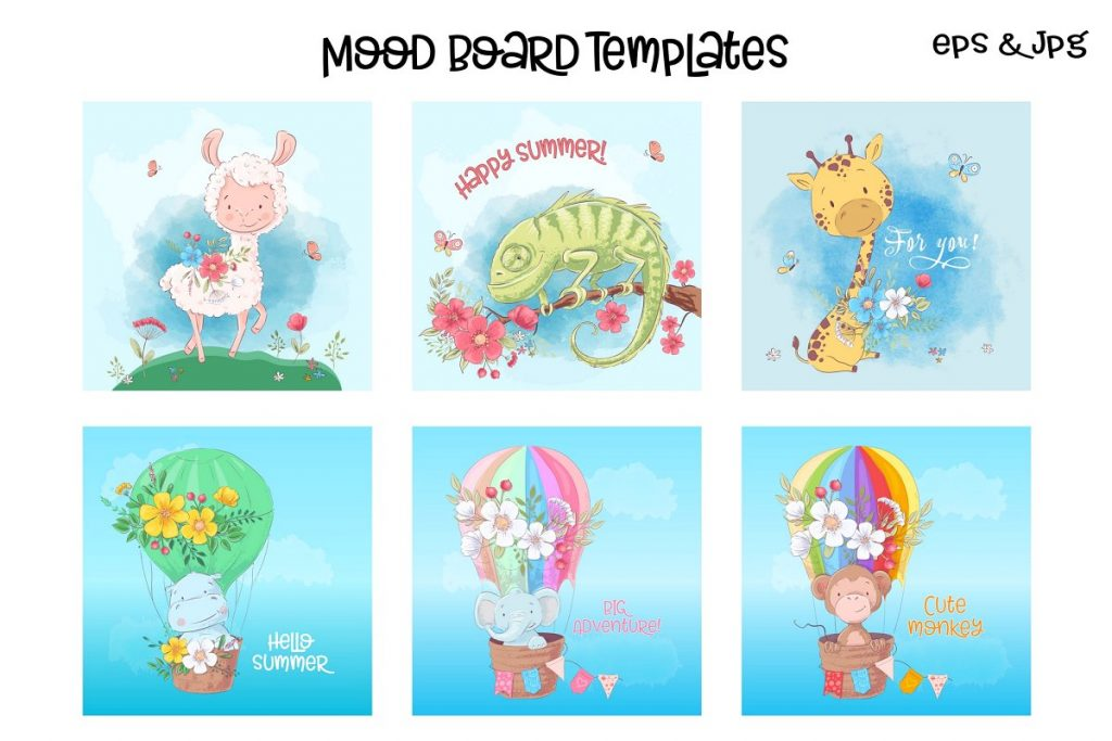 Awesome Zoo Animals Clip Art: Elements, Patterns and Templates - prw1 1 3