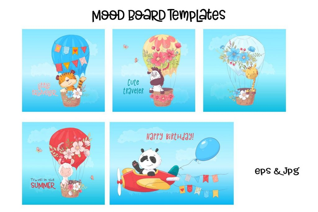 Awesome Zoo Animals Clip Art: Elements, Patterns and Templates - prw1 1 4