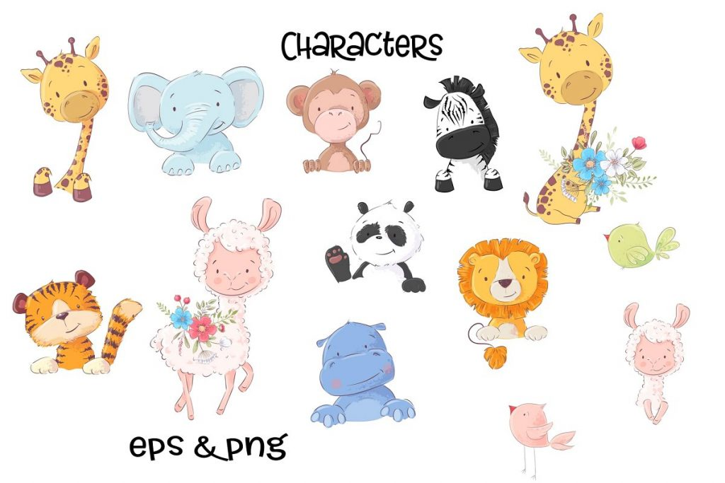Awesome Zoo Animals Clip Art: Elements, Patterns and Templates - prw1 1 6