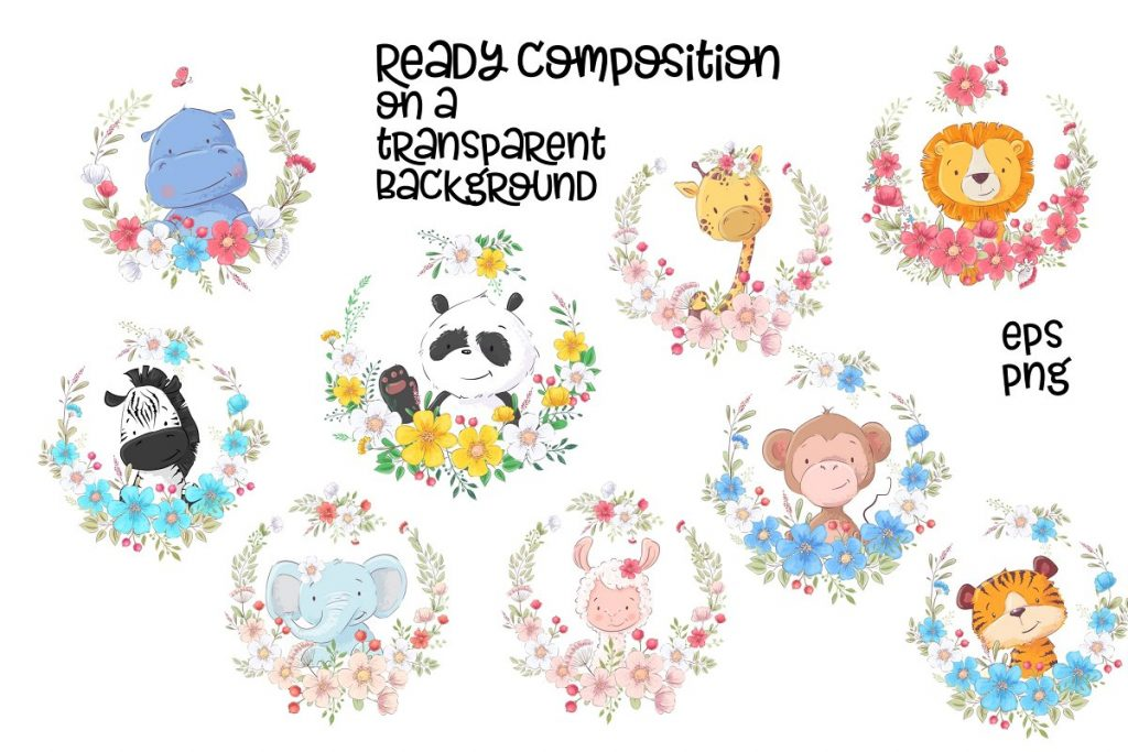 Awesome Zoo Animals Clip Art: Elements, Patterns and Templates - prw2 1 1