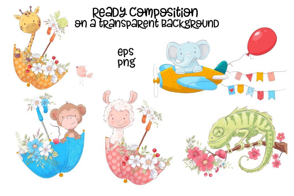 Awesome Zoo Animals Clip Art: Elements, Patterns and Templates - prw2 1 3