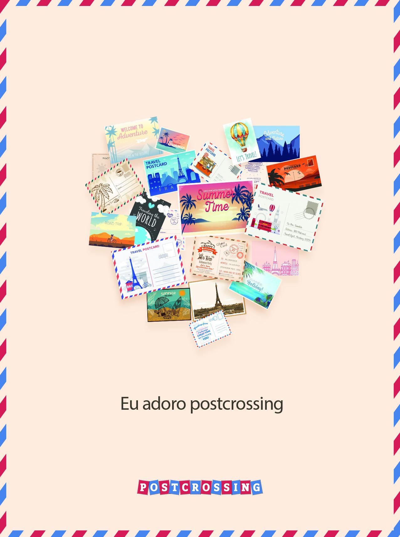 I Love Postcrossing Free Postcard - pt
