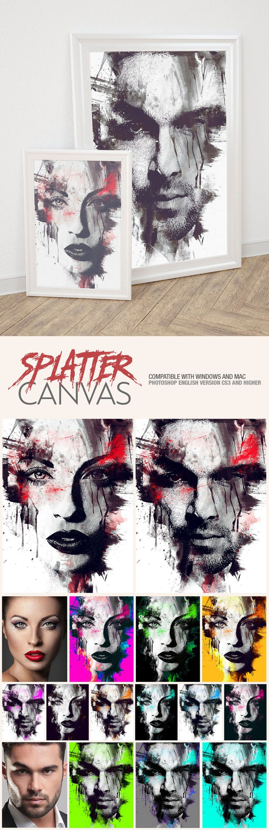 Photoshop Actions & Templates: Artistic Photo FX Bundle - splatter canvas photo template design by amorjesu 2
