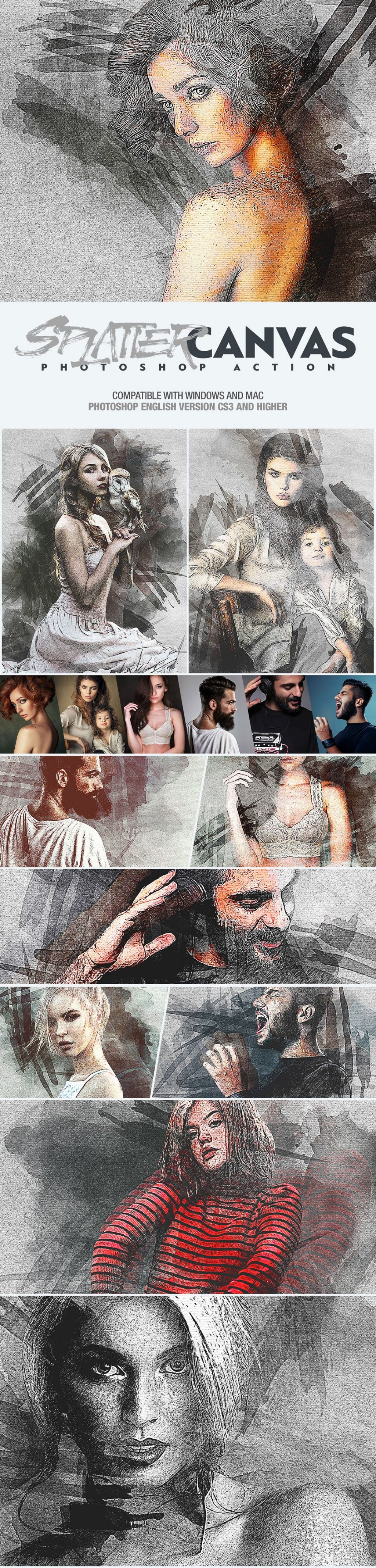 Photoshop Actions & Templates: Artistic Photo FX Bundle - splatter canvas photoshop action design by amorjesu