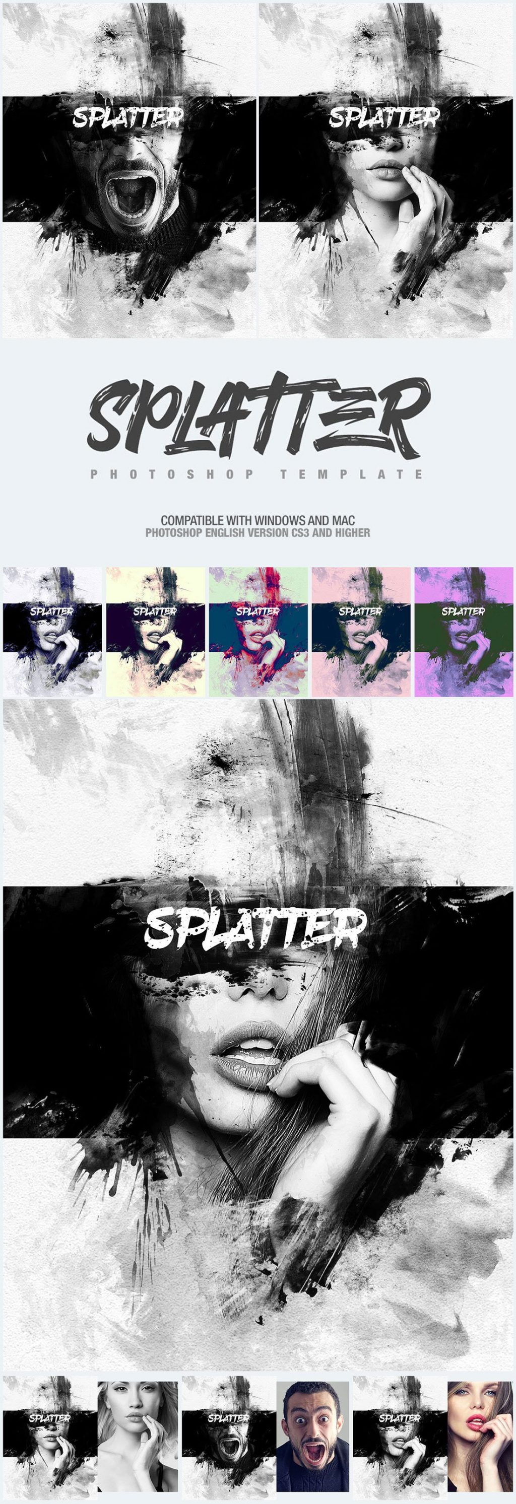 Photoshop Actions & Templates: Artistic Photo FX Bundle - splatter photo template design by amorjesu