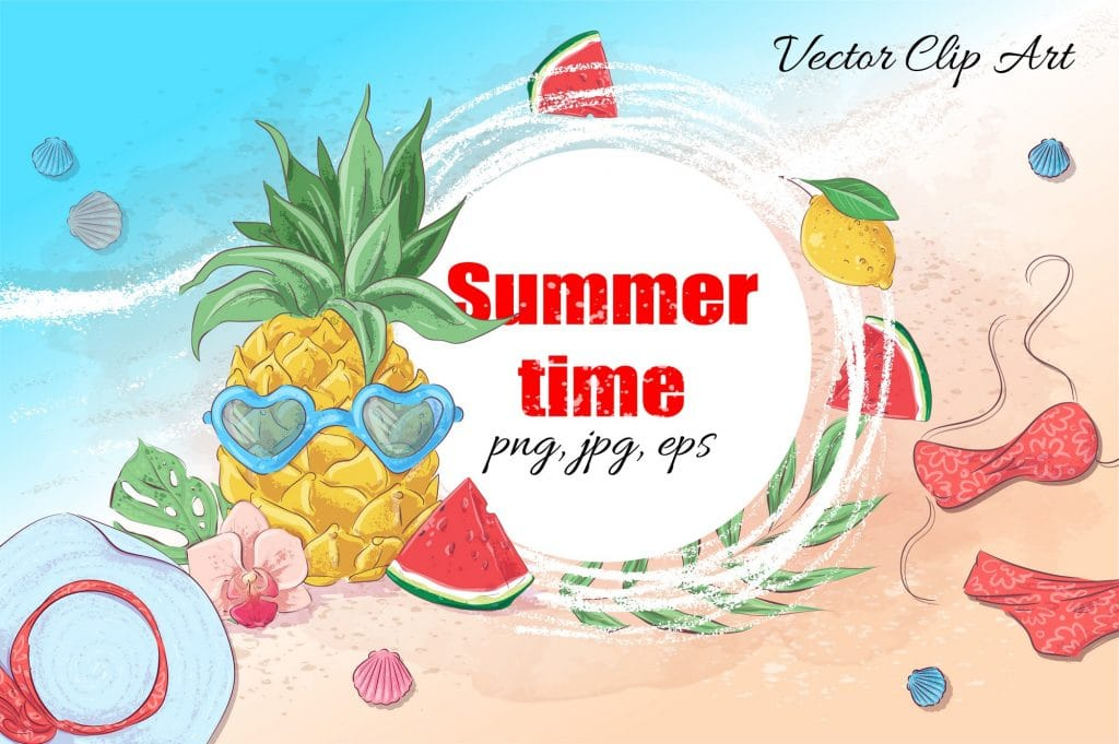 Summer Time Clipart - 38 Individual Elements - 1 3