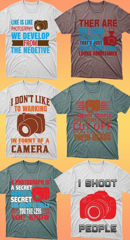 50 Editable Photography T-shirt Designs Bundle - 1 40