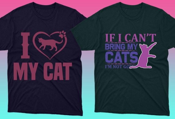 Cat Shirts: 50 Cat T-shirt Designs Bundle - 10 24