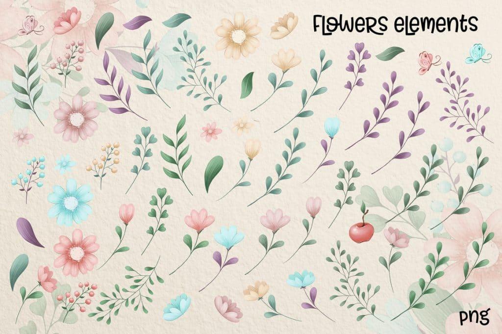 Watercolor Deer & Cute Animals Set: Racoons, Hedgehogs, Flowers, Wreaths PNG - 10 3