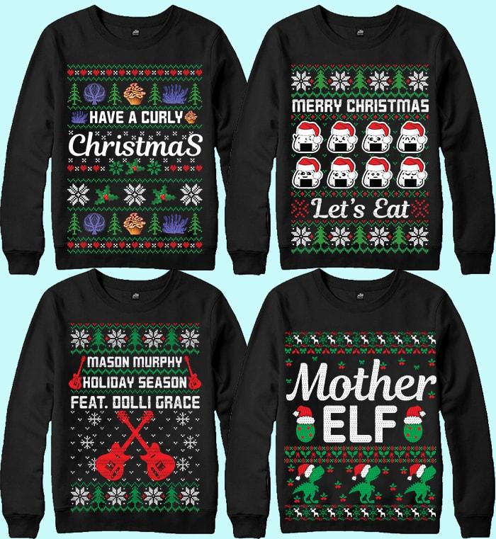 70 Printable Ugly Christmas Sweater Design Bundle - 12 13