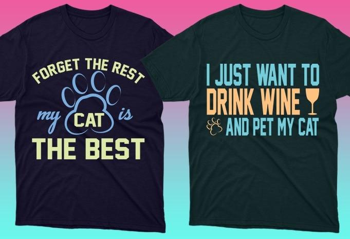 Cat Shirts: 50 Cat T-shirt Designs Bundle - 12 18