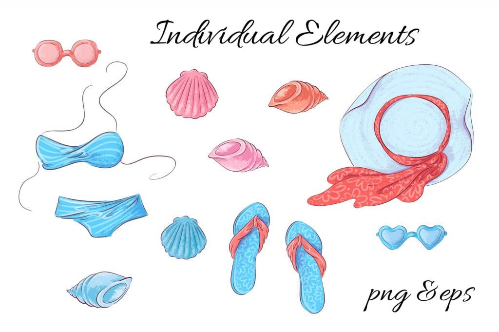 Summer Time Clipart - 38 Individual Elements - 12