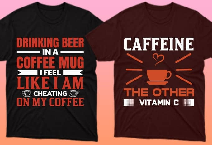 Two dark T-shirts and both about coffee.