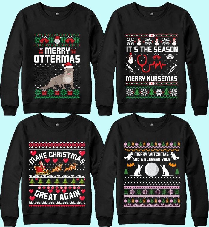 70 Printable Ugly Christmas Sweater Design Bundle - 15 12