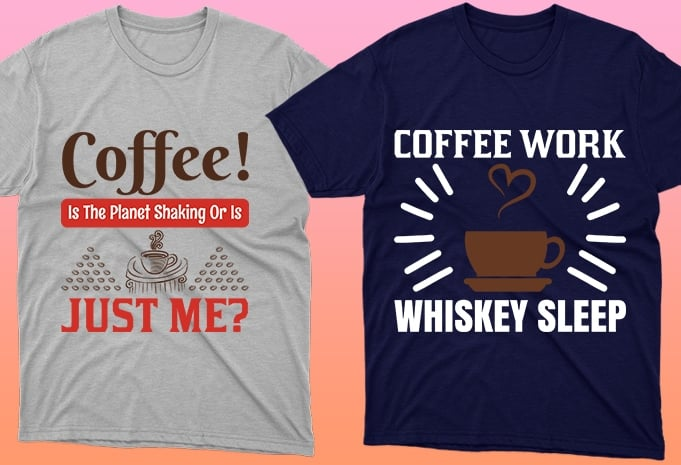 Light and blue T-shirts with coffee beans.