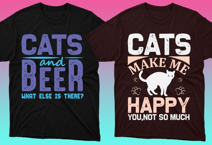 Cat Shirts: 50 Cat T-shirt Designs Bundle - 15 18