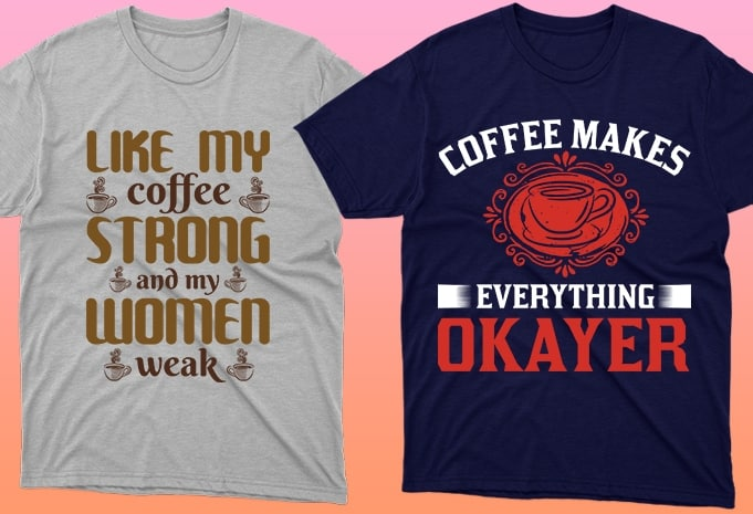 Two T-shirts with oriental coffee brewing motives.