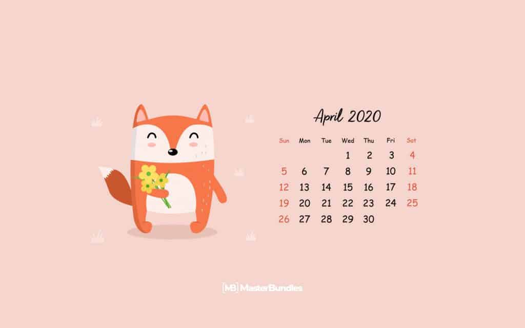 Free Personal April 2020 Calendar Page April Fox - 1680×1050