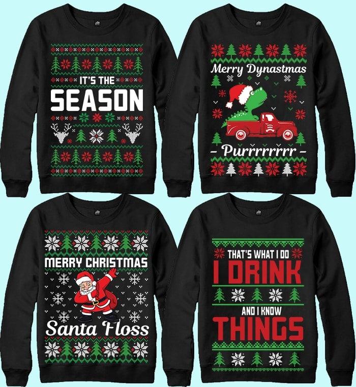 70 Printable Ugly Christmas Sweater Design Bundle - 17 12