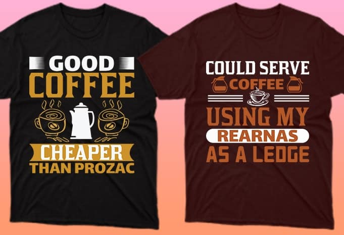 Black and brown T-shirts with an inscription and a cup of coffee.
