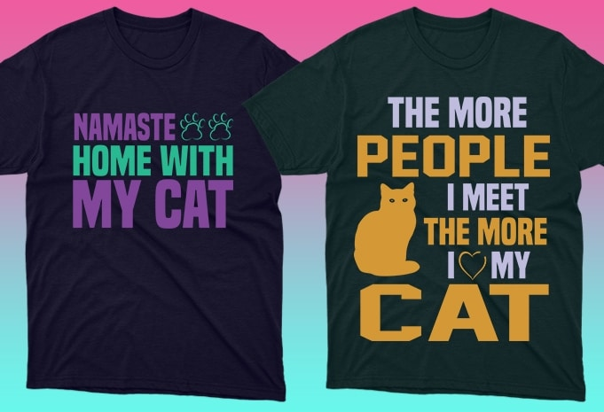 Cat Shirts: 50 Cat T-shirt Designs Bundle - 2 50