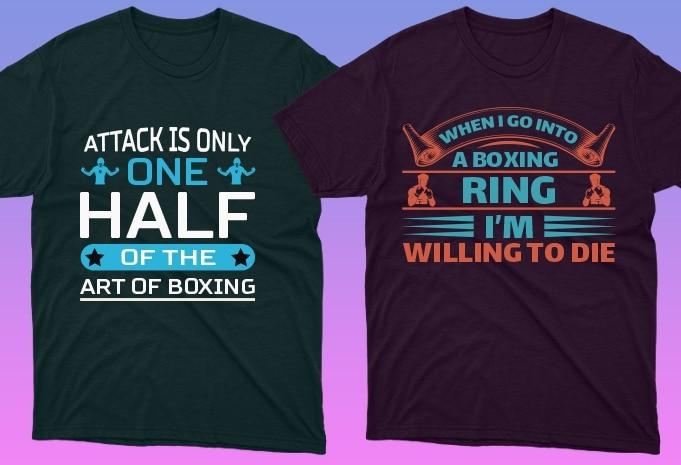 50 Boxing Shirt Designs Bundle: Sport Shirt Design - 20 14