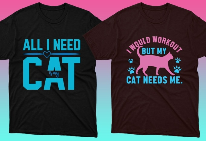 Cat Shirts: 50 Cat T-shirt Designs Bundle - 20 15