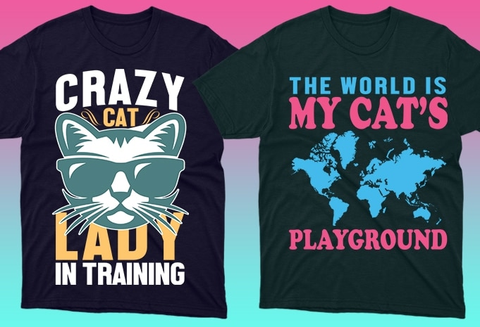 Cat Shirts: 50 Cat T-shirt Designs Bundle - 22 12