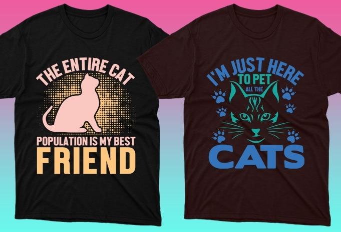 Cat Shirts: 50 Cat T-shirt Designs Bundle - 23 11