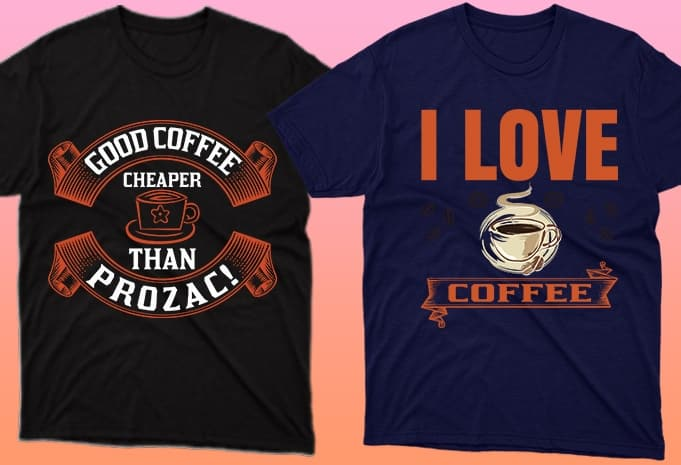 Laconic inscriptions about coffee on dark T-shirts.