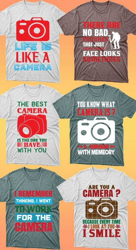 50 Editable Photography T-shirt Designs Bundle - 3 30