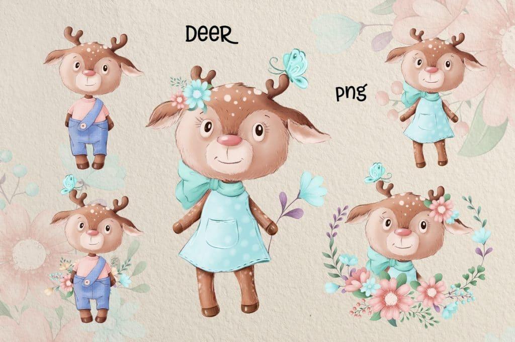 Watercolor Deer & Cute Animals Set: Racoons, Hedgehogs, Flowers, Wreaths PNG - 3 5