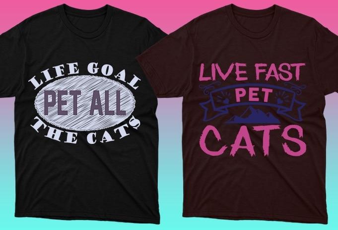 Cat Shirts: 50 Cat T-shirt Designs Bundle - 5 30