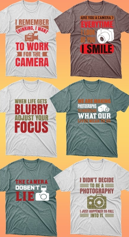 50 Editable Photography T-shirt Designs Bundle - 6 19