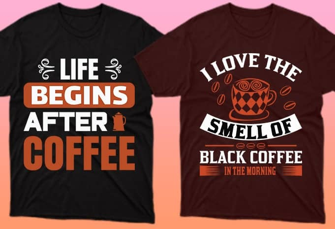 About life, coffee and everything on two T-shirts.