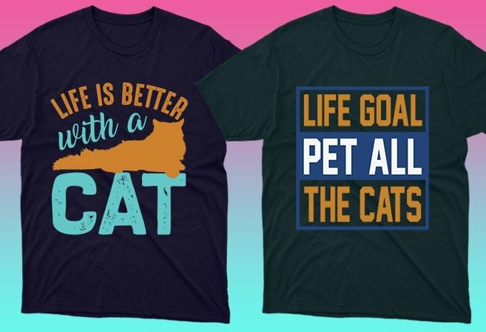 Cat Shirts: 50 Cat T-shirt Designs Bundle - 6 28