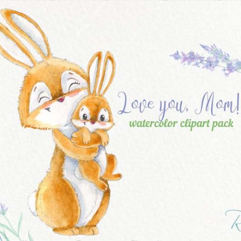 Watercolor Bunny and Mom: Mother's Day Designs with Rabbits + Bonus PNG - 600 21 490x490