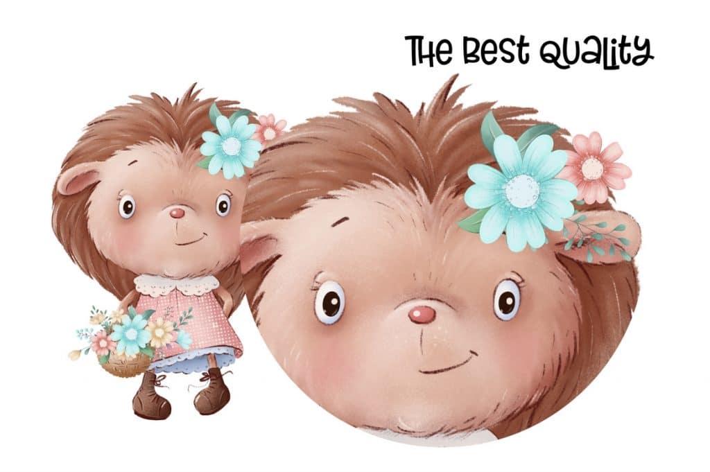 Watercolor Deer & Cute Animals Set: Racoons, Hedgehogs, Flowers, Wreaths PNG - 6 1