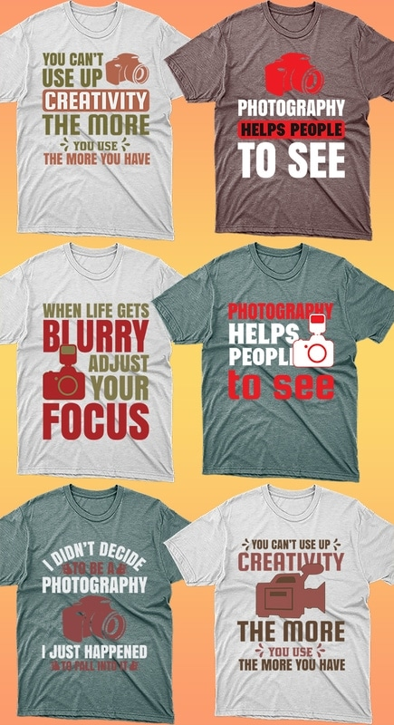 50 Editable Photography T-shirt Designs Bundle - 7 18