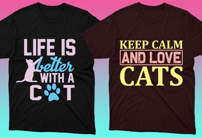 Cat Shirts: 50 Cat T-shirt Designs Bundle - 7 27