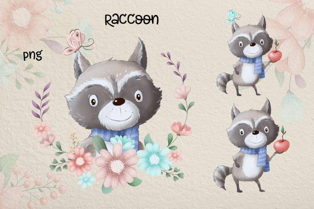 Watercolor Deer & Cute Animals Set: Racoons, Hedgehogs, Flowers, Wreaths PNG - 7 5