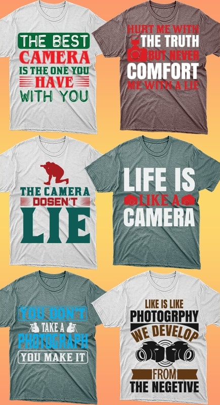 50 Editable Photography T-shirt Designs Bundle - 8 18